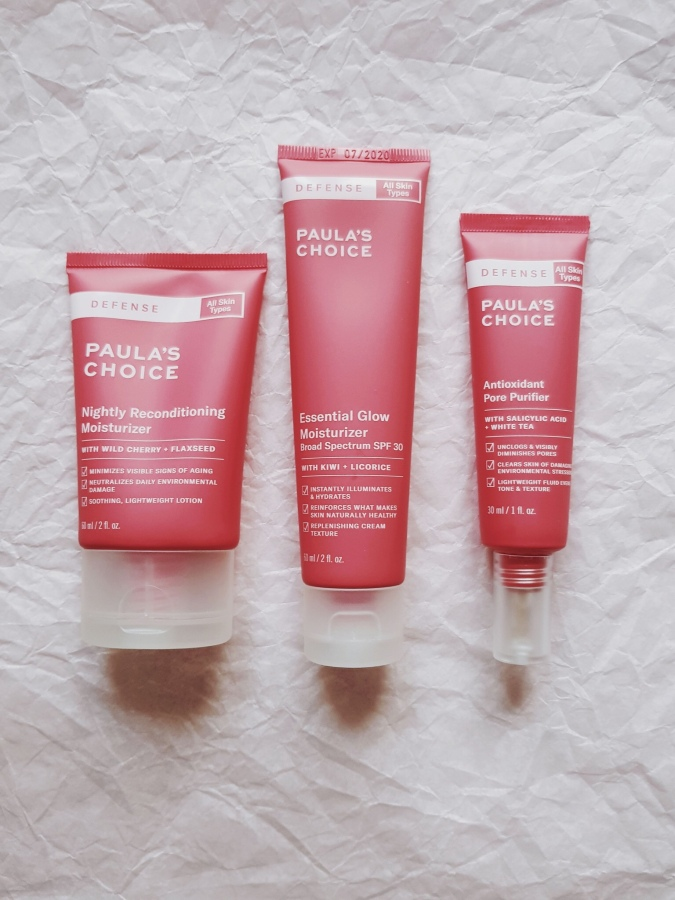 Skincare Review: Paula's Choice Defense Essential Glow Moisturizer SPF 30, Nightly Reconditioning Moisturizer, and Antioxidant Pore Purifier