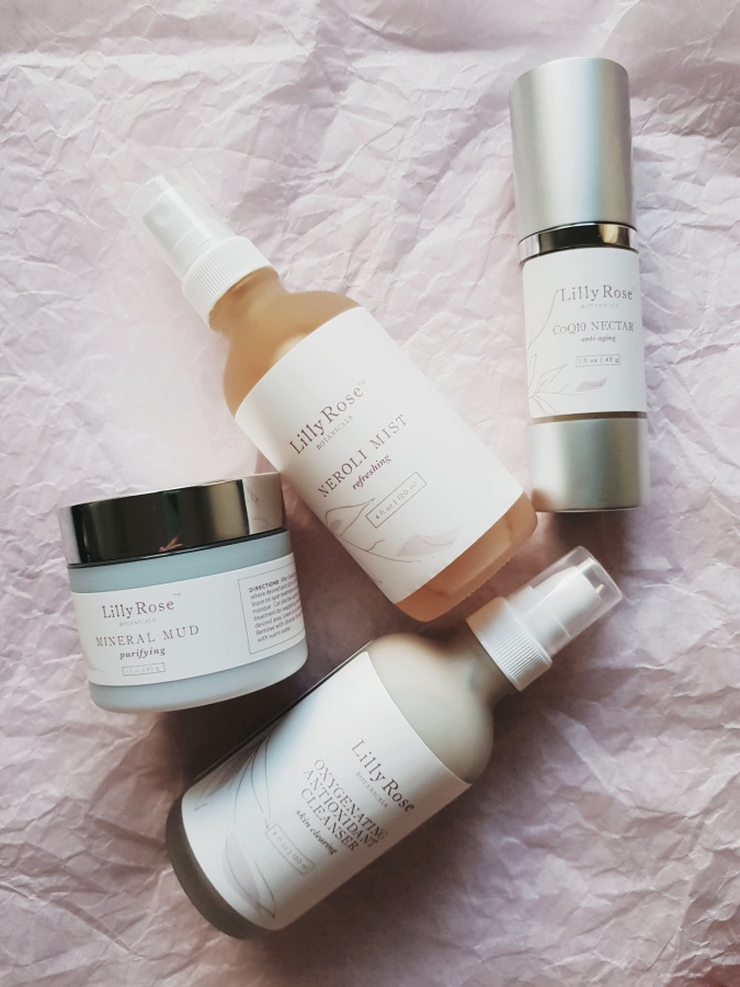 Brand Overview: Lilly Rose Botanicals Oxygenating Antioxidant Cleanser, Mineral Mud, Neroli Mist, and CoQ10Nectar