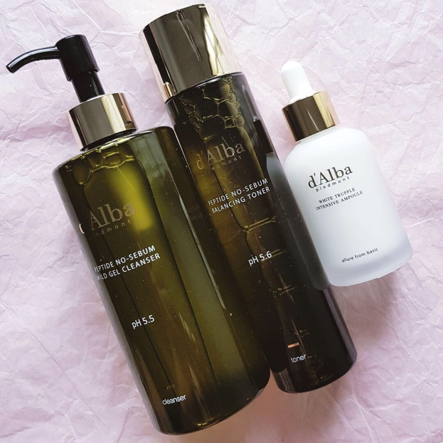 Skincare Review: d'Alba Piedmont Peptide No Sebum Mild Gel Cleanser, Peptide No Sebum Balancing Toner, and White Truffle Intensive Ampoule