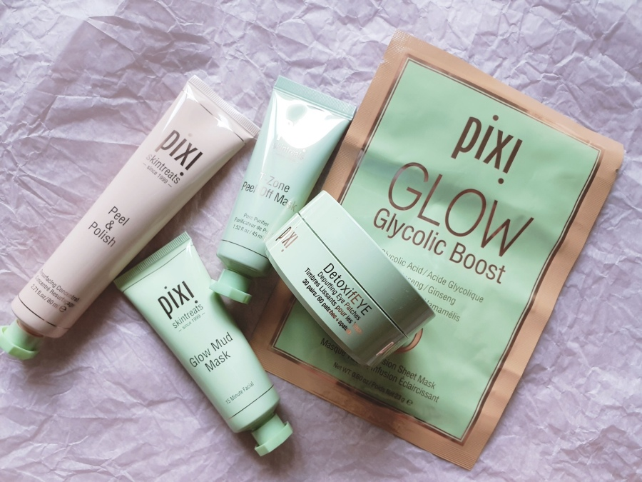 Skincare Review: Pixi Beauty Peel & Polish, Glow Mud Mask, T-Zone Peel-Off Mask, GLOW Glycolic Boost, DetoxifEYE