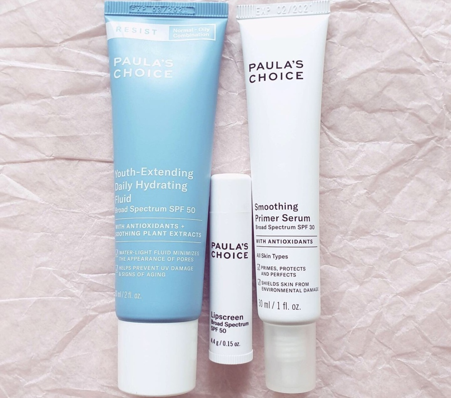 New In: Paula's Choice RESIST Youth-Extending Daily Hydrating Fluid SPF 50, Smoothing Primer Serum SPF 30, and Lipscreen SPF 50