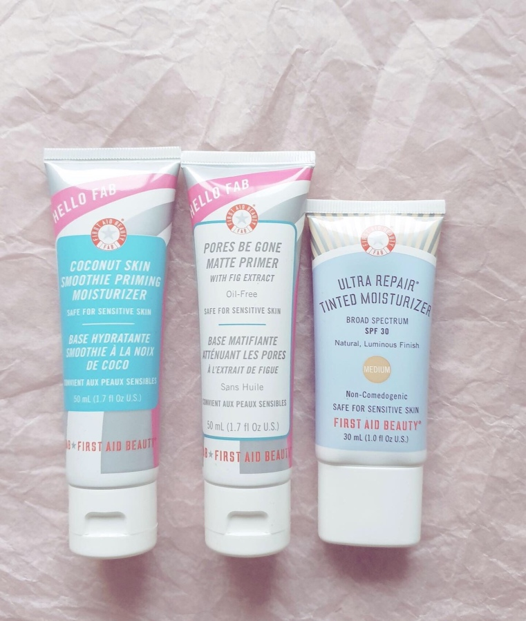 Makeup Review: First Aid Beauty Hello Fab Pores Be Gone Matte Primer with Fig Extract, Hello Fab Coconut Skin Smoothie Priming Moisturizer, and Ultra Repair Tinted Moisturizer SPF30