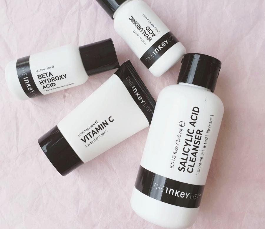 Skincare Review:  Inkey List Salicylic Acid Cleanser, Vitamin C Serum, Beta Hydroxy Acid, and HyaluronicAcid