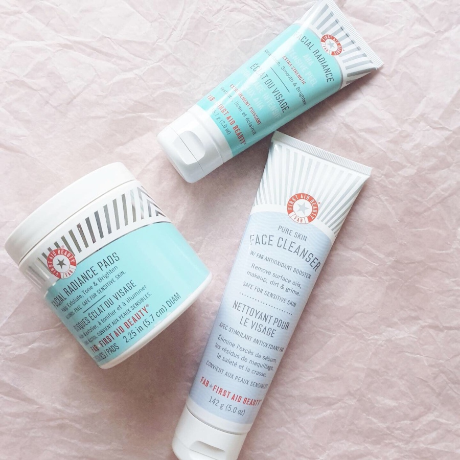 Skincare Review: First Aid Beauty Face Cleanser, Facial Radiance Pads, Facial Radiance AHA Intensive Peel, Fab Skin Retinol Eye Cream with Triple Hyaluronic Acid