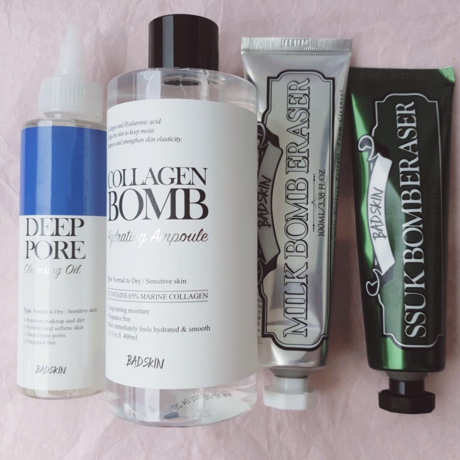 Skincare Review: Bad Skin Korea Hyaluronic Deep Pore Cleansing Oil, Ssuk Bomb Eraser, Milk Bomb Eraser, and Collagen Bomb Hydrating Ampoule
