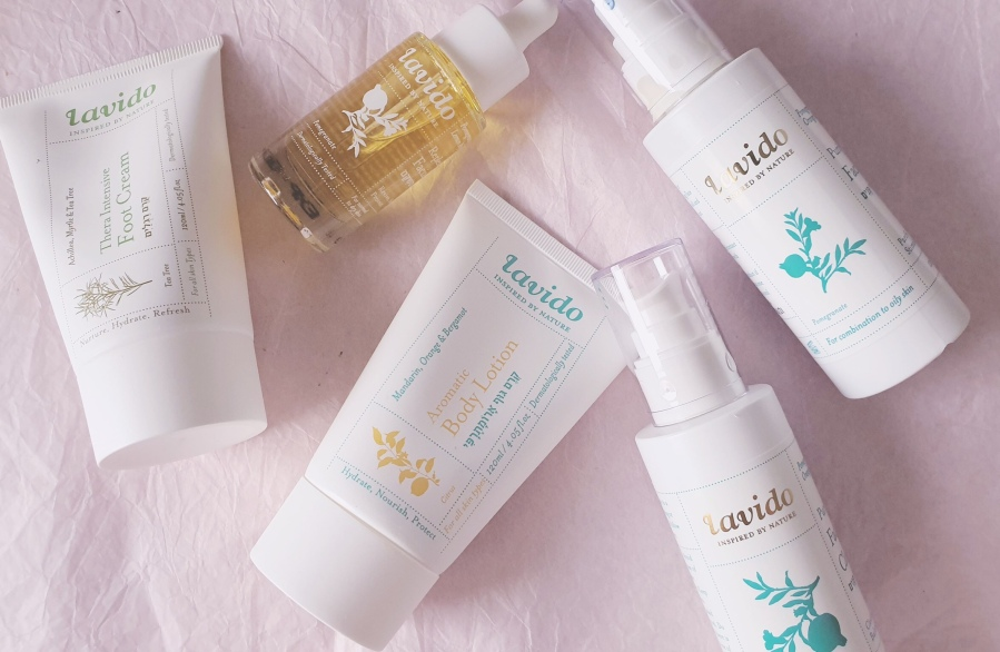Brand Overview: Lavido Purifying Facial Cleanser, Purifying Facial Toner, Replenishing Facial Serum, Mandarin Aromatic Body Lotion, and Thera Intensive FootCream